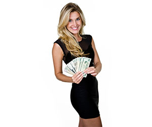 Blond woman holding money